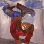 """Eva Hradil """"Agnes liegt am Boden und zeichnet"""" 2000, Pigmente und Acrylbinder auf Leinwand, 70 x 70 cm"""