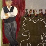 """Eva Hradil """"El Tanguero"""" 2015, Eitempera auf Halbkreidegrund auf Leinwand 130 x 110 cm, im Katalog """"beziehungsweise"""" abgebildet"""