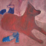 "SOLD Eva Hradil  ""Hund und Schuhe"" Öl auf Leinwand, 70 x 70 cm"