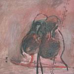 "SOLD Eva Hradil ""Zärtliche Schuhe"" Öl auf Leinwand 50 x 60 cm"