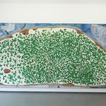 """""""Brotberuf Malerei"""" Ausstellungsansicht, Galerie Eboran Salzburg, Abb: """"Brotberuf Malerei, Schnittlauch 200 x 400 cm"""