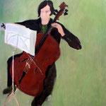 """SOLD Eva Hradil """"Maria (Bussmann) und ihr Cello"""", 2007, Öl und Eitempera auf Leinwand, 140 x 130 cm"""