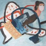"""Eva Hradil """"Schmetterling"""" Eitempera auf Halbkreidegrund auf Leinwand 110 x 130 cm"""