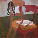 """SOLD Eva Hradil """"Buch, Stift, BH"""" Öl auf Leinwand 80 x 90 cm"""