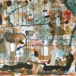 """Eva Hradil """"Postfluss"""" Eitempera und Papier auf Halbkreidegrund auf Leinwand 110 x 130 cm"""