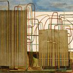 """SOLD Eva Hradil """"Zwei mit Linien"""" Eitempera und Textil auf Molino, 110 x 130 cm"""