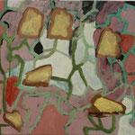 """Eva Hradil """"Brot im Spiel"""" 2018, Eitempera auf Halbkreidegrund auf Leinwand, 45 x 50 cm"""