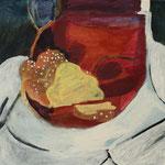 """Eva Hradil """"sweet bread"""" 2018, Eitempera auf Halbkreidegrund auf Leinwand, 45 x 50 cm"""