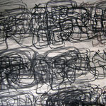 Eva Hradil, Written Shoes 2001, Tusche auf Reispapier, Detailansicht