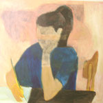 "SOLD Eva Hradil ""Pia rosa"" 2003, Eitempera und Öl auf Leinwand 80 x 90 cm"