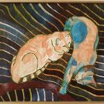 "Eva Hradil ""Katzen"" 2018, Eitempera auf Halbkreidegrund auf Leinwand, 45 x 50 cm"