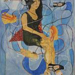 """Eva Hradil """"Mira und ihre Schuhe"""", 2015  Eitempera auf Halbkreidegrund auf Leinwand, 130 x 110 cm, im Katalog """"beziehungsweise"""" abgebildet"""