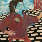 "Eva Hradil ""SP"" 2018, Eitempera auf Halbkreidegrund auf Leinwand, 80 x 90 cm"