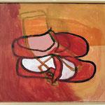 """Eva Hradil """"Ballerina mit orange"""" Eitempera auf Halbkreidegrund auf Leinwand, 45 x 50 cm"""