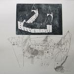 """Eva Hradil """"Schloss Orth"""" 2013, Holzschnitt und Bleistift auf Papier, 50 x 60 cm"""