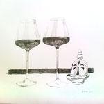 Eva Hradil, 2 Gläser Rotwein und ein Souvenir, 50 x 60 cm