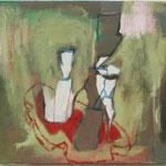 """Eva Hradil """"Abstrakter Brotbewuchs"""", 2018, Öl und Eitempera auf Leinwand, 30 x 33 cm"""