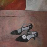 "SOLD Eva Hradil ""Tanzschuhe auf rosa"" Öl auf Leinwand 90 x 80 cm"