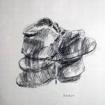 Eva Hradil, Schuhskizzen, 2002, Bleistift auf Papier, 40 x 40 cm
