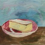 """Eva Hradil """"dann sollen sie doch Kuchen essen"""" 2018, Eitempera auf Halbkreidegrund auf Leinwand, 30 x 33 cm"""