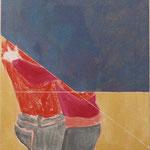 """Eva Hradil """"Umarmung 10 vor 3"""" Eitempera und Öl auf Halbkreidegrund auf Leiwand 50 x 45 cm"""