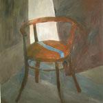 "SOLD Eva Hradil ""Werkstattsessel (Philipps Sessel)"", Öl auf Leinwand, 90 x 80 cm"