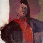 """SOLD Eva Hradil """"SP während Männer abstrakt"""" 2004, Öl auf Leiwand, 90 x 80 cm"""