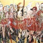"""SOLD Eva Hradil """"Tango-Organ / Wiener Reigen"""" 2011-2014, Eitempera auf Halbkreidegrund auf Leinwand, 200 x 300 cm"""