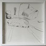 """Eva Hradil """" Brot und  Butter und 5 Messer"""" 2018, Bleistift auf Papier, 30 x 30 cm"""