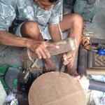 auch die Bambusbehälter sind Handarbeit