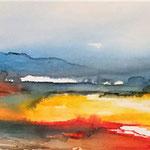 Landschaft I, 100 x 20 cm, Aquarell auf Leinwand, 2014