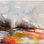 Landschaft III, 80 x 30 cm, Aquarell auf Leinwand, 2014