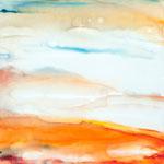 Aquarell-Landschaft I, 80 c 80 cm, Aquarell auf Leinwand, 2014