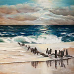 Sylter Strand, 70 x 60 cm, Öl auf Leinwand, 2012, verkauft