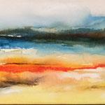 Landschaft II, 100 x20 cm, Aquarell auf Leinwand, 2014