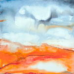 Aquarell-Landschaft II, 80 x 80 cm, Aquarell auf Leinwand, 2014