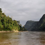 Ein langer brauner Fluss. Der Mekong