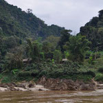Hütten und kleine Dörfer am Mekong