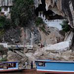 Die Pak-Ou oder auch Tam Ting-Höhlen. Höhlentempel der tausend Buddhas.