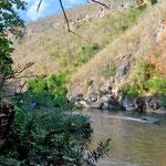 Ausblick aus unserer Lodge auf den Fluss Kwai
