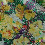 JAB-Stoff Escana gelbe Blüten auf grauem Grund