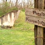 Keine Hinkelsteine, dafür echte Hügelgräber. Man sieht sofort: Spätbronzezeitlich, sprich 1200 vdZ. Hinten die Mauer zeigt den Hügel im Anschnitt, Modell Gugelhupf. .