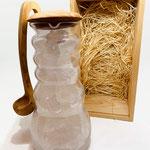 Hochwertige Karaffe mit Halitsalz Trinkmischung, Olivendeckel & Olivenlöffel incl.Präsentbox