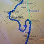 Die Schlögener Schlinge auf der GPS Karte.