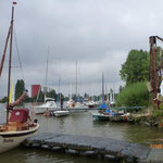 Segelsport im Umfeld von Berufsschifffahrt und im Strom des Mains.