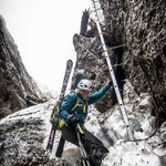 22. März: Abstieg durch den Kamin in der Kematscharte.