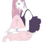 ファッションイラスト ガールズイラスト シンプルイラスト 女性向け ピンク