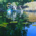 """Johannes Schramm """"Haus am See"""" 140x120cm Oil on canvas 2013, privately owned"""