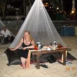"""Unser """"Tisch"""" beim Stranddinner"""