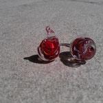 Bague rouge et transparente monté sur fil d'argent